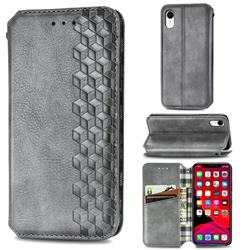 Ultra Slim Fashion Business Card Magnetic Automatic Suction Leather Flip Cover for iPhone Xr (6.1 inch) - Grey