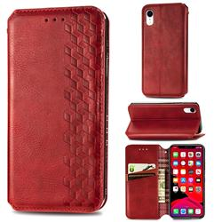 Ultra Slim Fashion Business Card Magnetic Automatic Suction Leather Flip Cover for iPhone Xr (6.1 inch) - Red