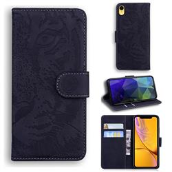 Intricate Embossing Tiger Face Leather Wallet Case for iPhone Xr (6.1 inch) - Black