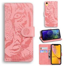 Intricate Embossing Tiger Face Leather Wallet Case for iPhone Xr (6.1 inch) - Pink