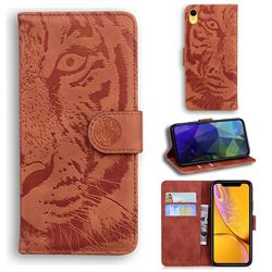 Intricate Embossing Tiger Face Leather Wallet Case for iPhone Xr (6.1 inch) - Brown