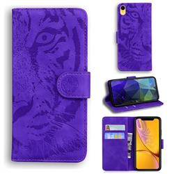 Intricate Embossing Tiger Face Leather Wallet Case for iPhone Xr (6.1 inch) - Purple