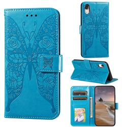 Intricate Embossing Rose Flower Butterfly Leather Wallet Case for iPhone Xr (6.1 inch) - Blue