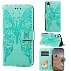 Intricate Embossing Rose Flower Butterfly Leather Wallet Case for iPhone Xr (6.1 inch) - Green