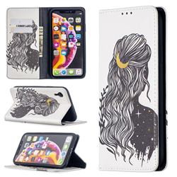 Girl with Long Hair Slim Magnetic Attraction Wallet Flip Cover for iPhone Xr (6.1 inch)