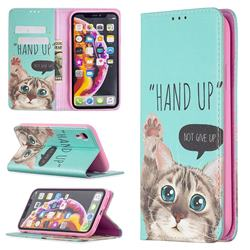 Hand Up Cat Slim Magnetic Attraction Wallet Flip Cover for iPhone Xr (6.1 inch)