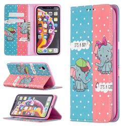 Elephant Boy and Girl Slim Magnetic Attraction Wallet Flip Cover for iPhone Xr (6.1 inch)