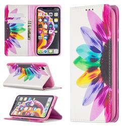 Sun Flower Slim Magnetic Attraction Wallet Flip Cover for iPhone Xr (6.1 inch)