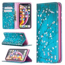 Plum Blossom Slim Magnetic Attraction Wallet Flip Cover for iPhone Xr (6.1 inch)