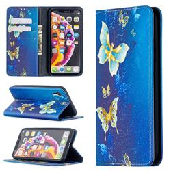 Gold Butterfly Slim Magnetic Attraction Wallet Flip Cover for iPhone Xr (6.1 inch)