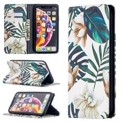 Flower Leaf Slim Magnetic Attraction Wallet Flip Cover for iPhone Xr (6.1 inch)