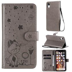 Embossing Bee and Cat Leather Wallet Case for iPhone Xr (6.1 inch) - Gray