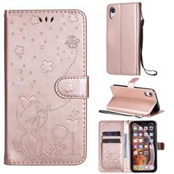 Embossing Bee and Cat Leather Wallet Case for iPhone Xr (6.1 inch) - Rose Gold