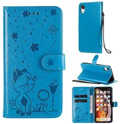 Embossing Bee and Cat Leather Wallet Case for iPhone Xr (6.1 inch) - Blue