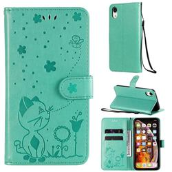 Embossing Bee and Cat Leather Wallet Case for iPhone Xr (6.1 inch) - Green