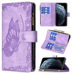 Binfen Color Imprint Vivid Butterfly Buckle Zipper Multi-function Leather Phone Wallet for iPhone Xr (6.1 inch) - Purple