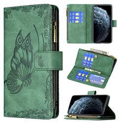Binfen Color Imprint Vivid Butterfly Buckle Zipper Multi-function Leather Phone Wallet for iPhone Xr (6.1 inch) - Green