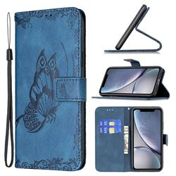 Binfen Color Imprint Vivid Butterfly Leather Wallet Case for iPhone Xr (6.1 inch) - Blue