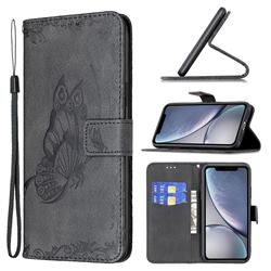 Binfen Color Imprint Vivid Butterfly Leather Wallet Case for iPhone Xr (6.1 inch) - Black