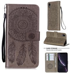 Embossing Dream Catcher Mandala Flower Leather Wallet Case for iPhone Xr (6.1 inch) - Gray