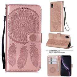 Embossing Dream Catcher Mandala Flower Leather Wallet Case for iPhone Xr (6.1 inch) - Rose Gold