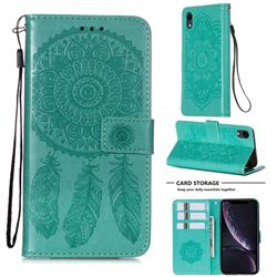 Embossing Dream Catcher Mandala Flower Leather Wallet Case for iPhone Xr (6.1 inch) - Green