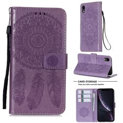 Embossing Dream Catcher Mandala Flower Leather Wallet Case for iPhone Xr (6.1 inch) - Purple