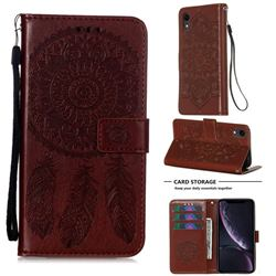 Embossing Dream Catcher Mandala Flower Leather Wallet Case for iPhone Xr (6.1 inch) - Brown