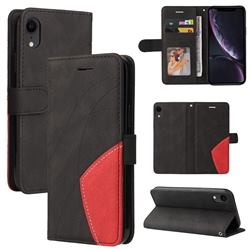 Luxury Two-color Stitching Leather Wallet Case Cover for iPhone Xr (6.1 inch) - Black