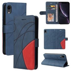 Luxury Two-color Stitching Leather Wallet Case Cover for iPhone Xr (6.1 inch) - Blue