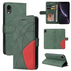 Luxury Two-color Stitching Leather Wallet Case Cover for iPhone Xr (6.1 inch) - Green