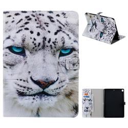 White Leopard Folio Flip Stand Leather Wallet Case for Apple iPad 10.2 (2019)