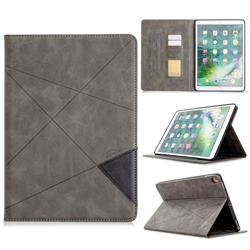 Binfen Color Prismatic Slim Magnetic Sucking Stitching Wallet Flip Cover for Apple iPad 10.2 (2019) - Gray