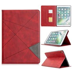 Binfen Color Prismatic Slim Magnetic Sucking Stitching Wallet Flip Cover for Apple iPad 10.2 (2019) - Red
