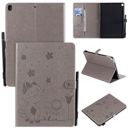 Embossing Bee and Cat Leather Flip Cover for Apple iPad 10.2 (2019) - Gray