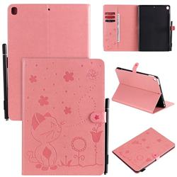Embossing Bee and Cat Leather Flip Cover for Apple iPad 10.2 (2019) - Pink