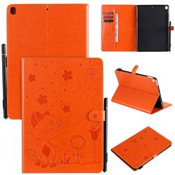 Embossing Bee and Cat Leather Flip Cover for Apple iPad 10.2 (2019) - Orange