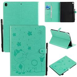 Embossing Bee and Cat Leather Flip Cover for Apple iPad 10.2 (2019) - Green