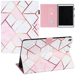 Pink White Stitching Color Marble Leather Flip Cover for Apple iPad 10.2 (2019)