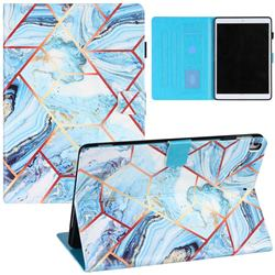 Lake Blue Stitching Color Marble Leather Flip Cover for Apple iPad 10.2 (2019)