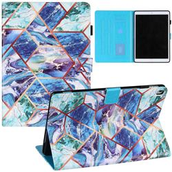 Green and Blue Stitching Color Marble Leather Flip Cover for Apple iPad 10.2 (2019)