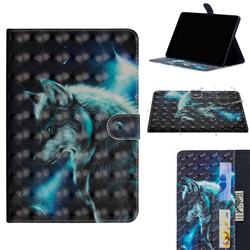 Snow Wolf 3D Painted Leather Tablet Wallet Case for Apple iPad Pro 11