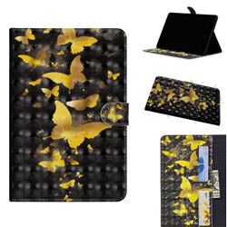 Golden Butterfly 3D Painted Leather Tablet Wallet Case for Apple iPad Pro 11