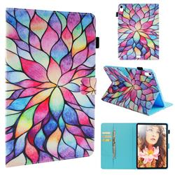 Colorful Lotus Folio Stand Leather Wallet Case for Apple iPad Pro 11