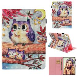 Purple Owl 3D Painted Leather Wallet Tablet Case for Apple iPad Pro 11
