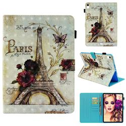 Flower Eiffel Tower 3D Painted Leather Wallet Tablet Case for Apple iPad Pro 11