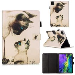 Cat Confrontation Matte Leather Wallet Tablet Case for Apple iPad Pro 11