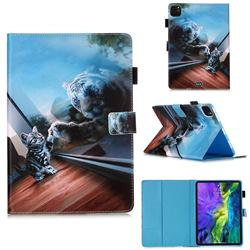 Mirror Cat Matte Leather Wallet Tablet Case for Apple iPad Pro 11