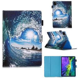 Waves and Sun Matte Leather Wallet Tablet Case for Apple iPad Pro 11