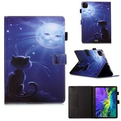 Cat and Moon Matte Leather Wallet Tablet Case for Apple iPad Pro 11